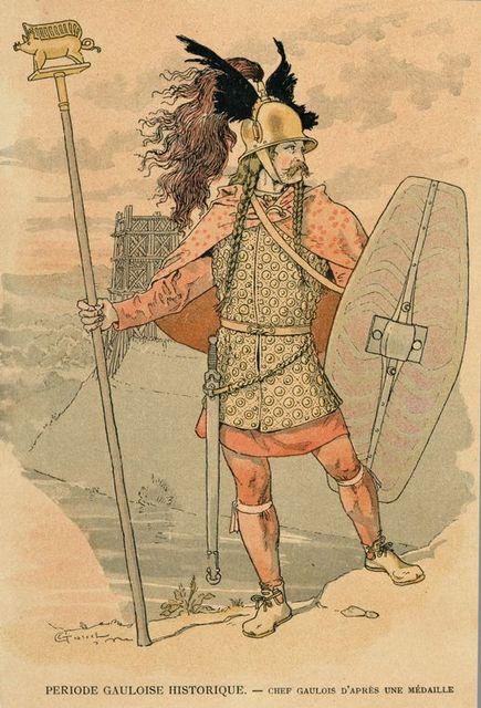 Periode Gauloise Historique : chef Gaulois d'après une médaille.