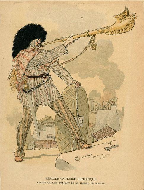 Période Gauloise Historique : soldat Gaulois sonnant de la trompe de guerre.