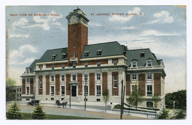 Rear View of Borough Hall, St. George, Staten Island, N.Y. [building with horse and    carriage as well as old car in street]