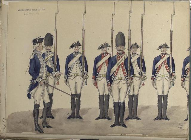 Sergeant, Grenadier, Fusilier van Dundas (Reg. No. 24); Grenadier, Fusilier - stads. Soldaten van Amsterdam; Fusilier van Grenier (Reg. Walen); Fusilier van Pallordy (Rgt. No. 5). In dienst van het Defensie weren in 1786.