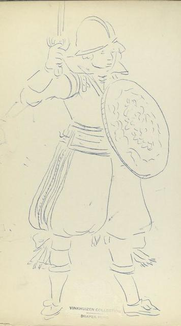 [Soldier with shield, and raised sword.]