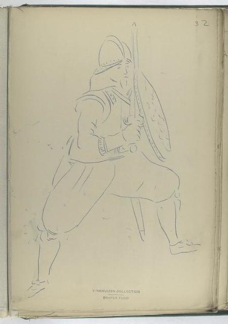 [Soldier with sword and shield.]