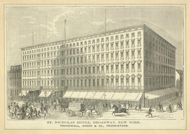 St. Nicholas Hotel, Broadway, New York. Treadwell, Acker & Co., proprietors