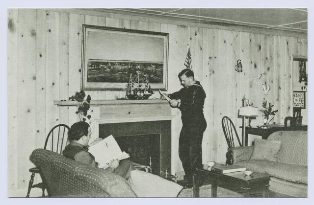 Staten Island Center for Active Service Men, Stapleton, Staten Island, N.Y.  [int. view of living room with sailor leaning on mantle and another man on sofa]