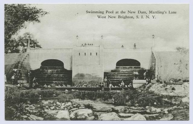 Swimming Pool at the New Dam, Martling's Lane, West New Brighton, Staten Island, N.Y.  [people swimming in pool area created by the dam which is also visible in background]