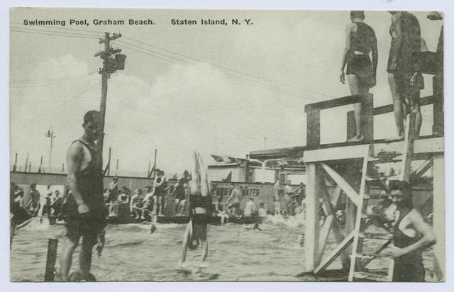 Swimming Pool, Graham Beach, Staten Island, N.Y.  [people in old bathing suits in pool and lined up on diving platform]