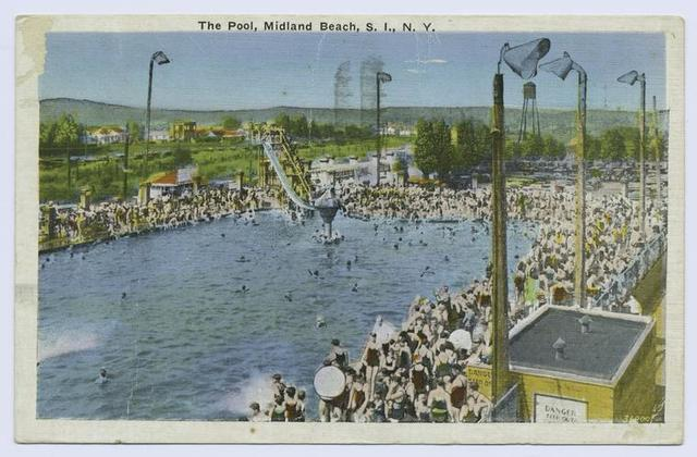 The Pool, Midland Beach, Staten Island, N.Y.  [view of huge pool and water slide, lots of people on surrounding decks]
