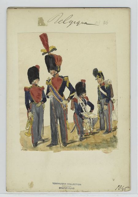 [Three soldiers with instruments, and the drum major.]