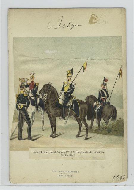 Trompettes et cavaliérs des 1er et 2e régiments de Lanciers. 1843 à 1847