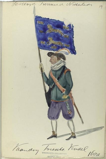 Vereenigde Provincien der Nederlanden. Vaandeldrager ...  Vendel. 1600