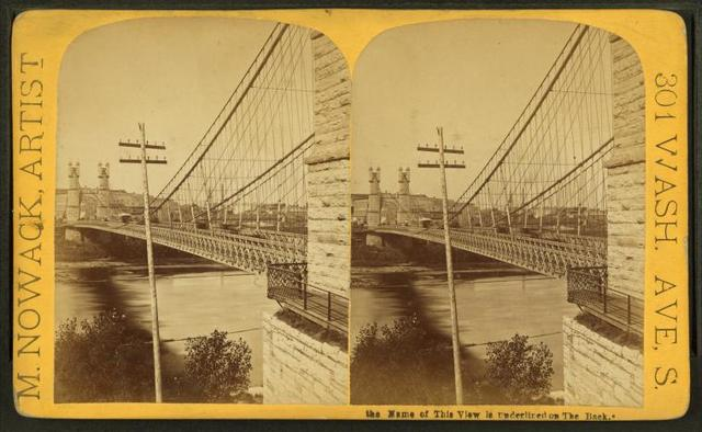 View of suspension bridge.