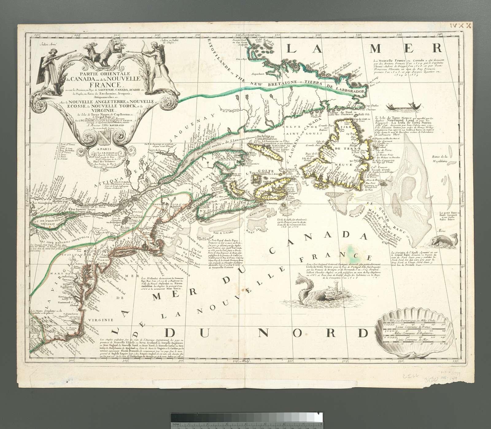 Partie orientale du Canada ou de la Nouvelle France : ou sont les  provinces, ou pays de Sagvenay, Canada, Acadie ... auec la NouvelleAngleterre, La Nouvelle Ecosse, la Nouvelle Yorck, et la Virginie ...