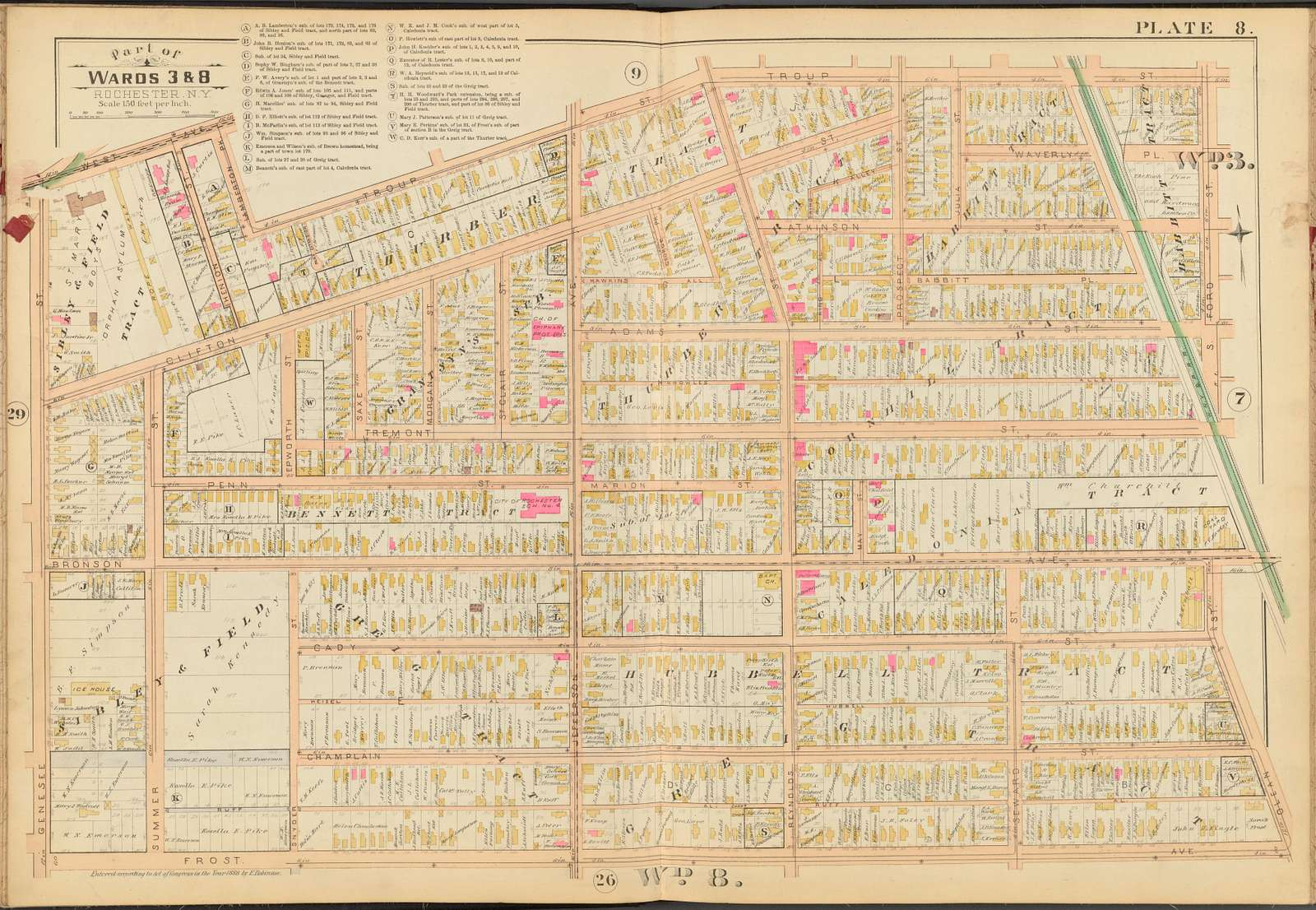 Rochester, Double Page Plate No. 8 [Map bounded by Troup St., S. Ford St., Olean St., Frost Ave., Genesee St.]