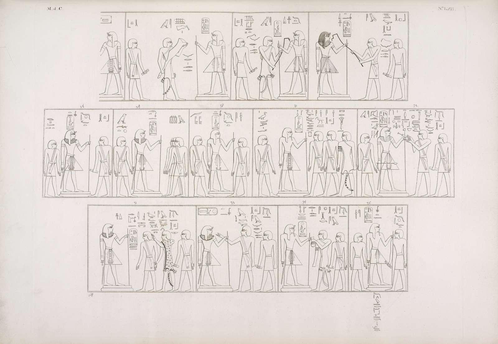 Serie di scene della tomba medesima, che figurativamente rappresentano le cerimonie del rituale praticato nell'approvazione e nella tumulazione del re defunto.