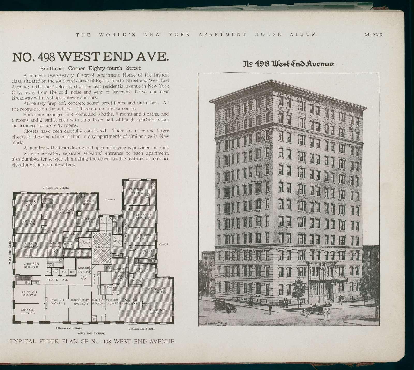 No. 498 West End Avenue. Southeast Corner Eighty-fourth Street.
