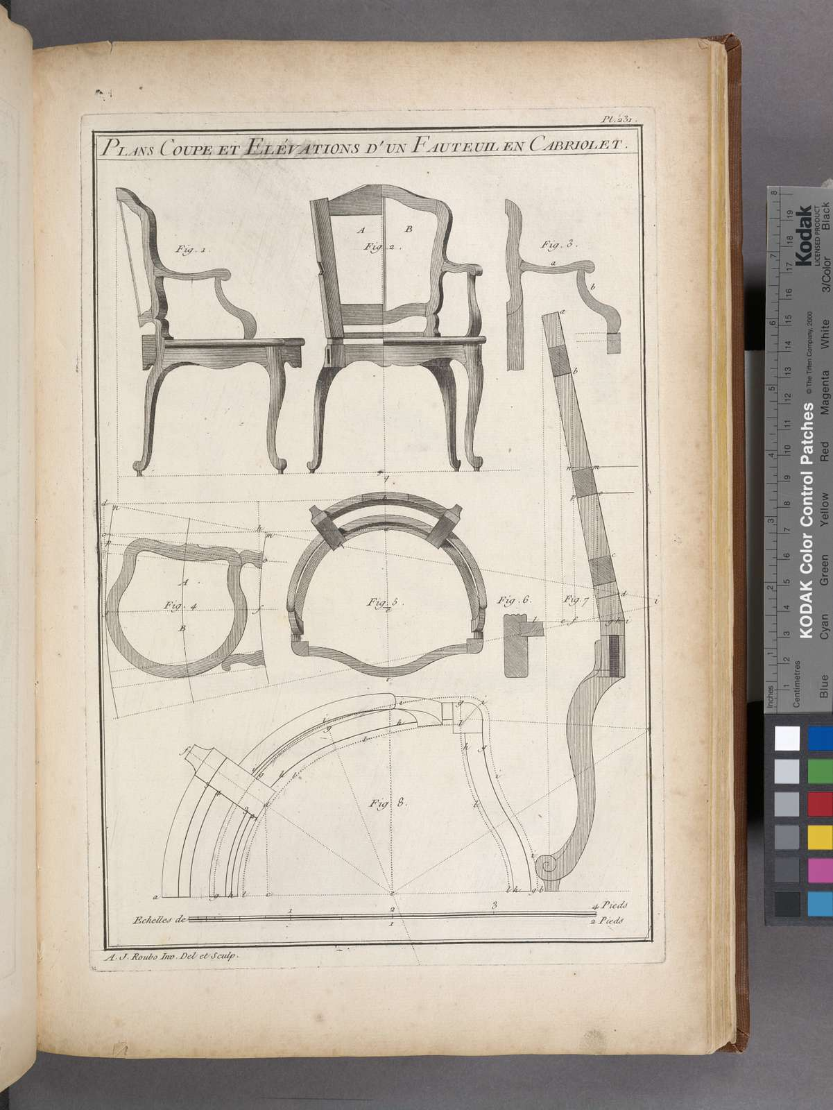 Plans coupe et elévations d'un fauteuil en cabriolet.