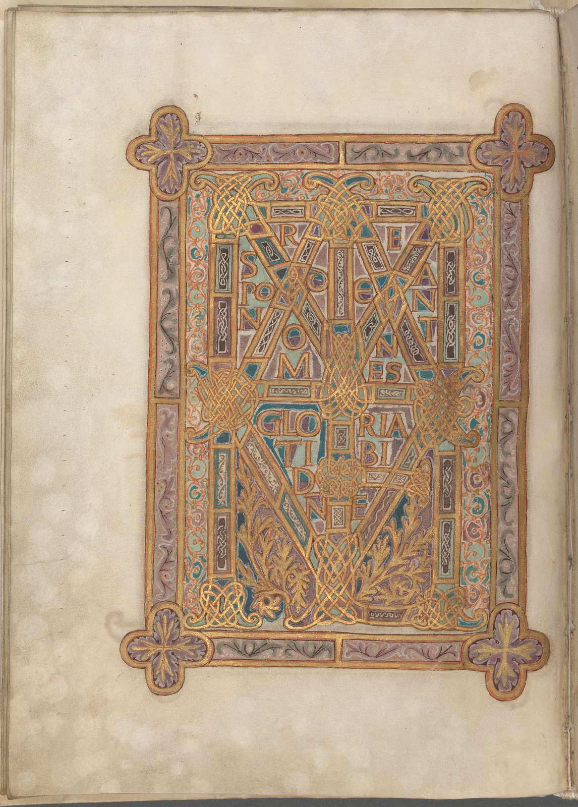 Elaborate text page in gold, purple and green:  Mattheum/Respondeat omnes gloria tibi Domine