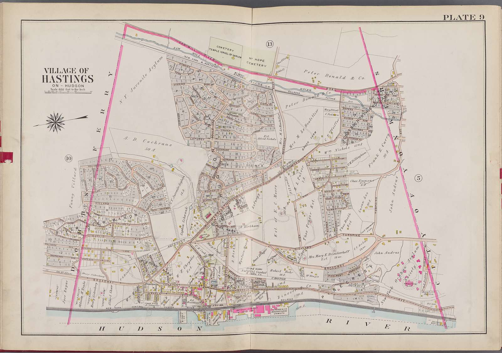 Westchester, V. 2, Double Page Plate No. 9 [Map bounded by Saw Mill River Rd., City of Yonkers, Hudson River, Dobbs Ferry]