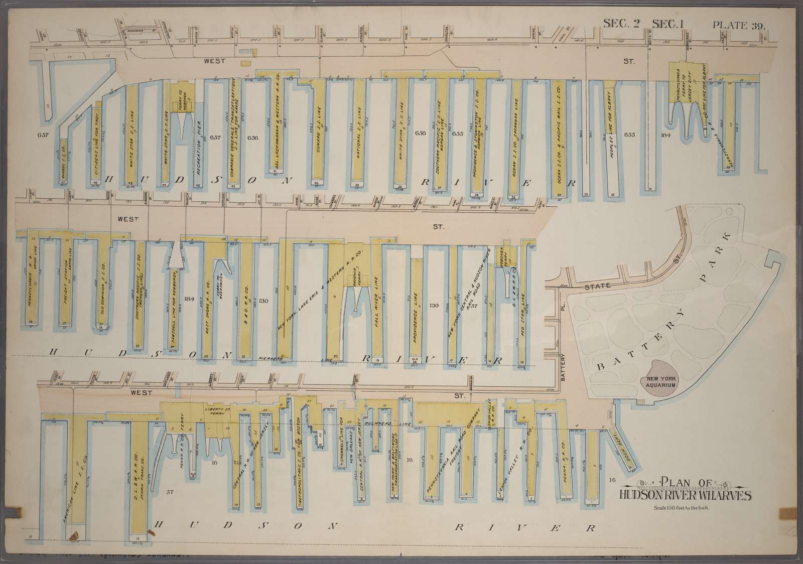 Plate 39, Sec. 2 & Sec. 1: Plan of Hudson River Wharves [Covers the Wharves between Perry Street - Battery Park on West Street]