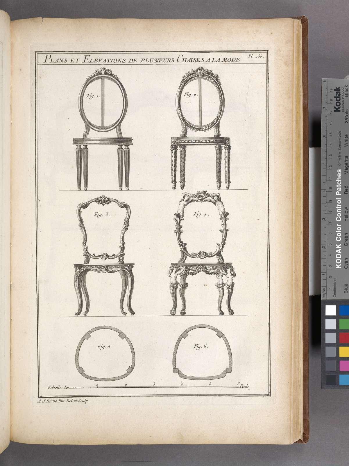 Plans et elévations de plusieurs chaises a la mode.