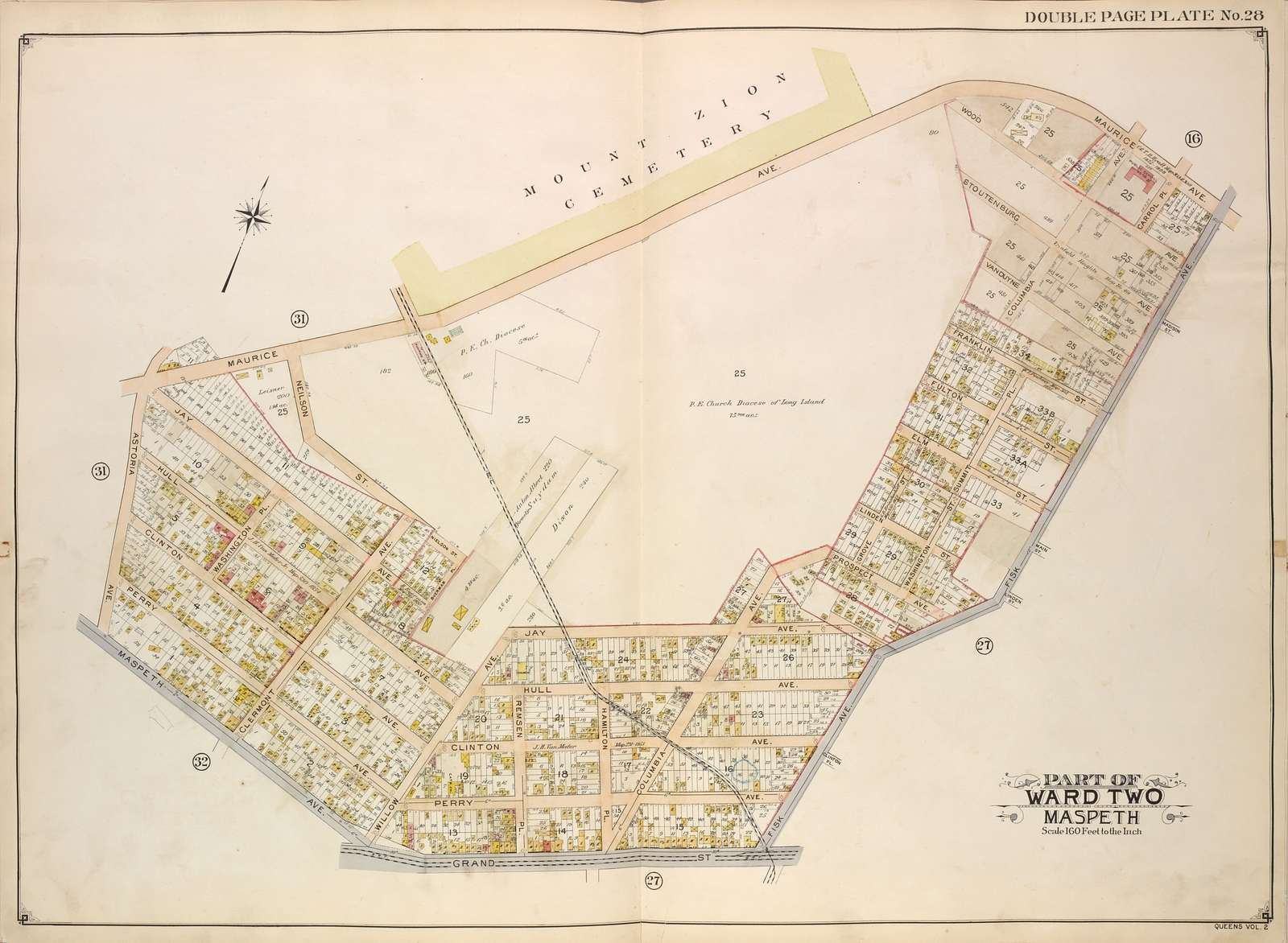 Queens, Vol. 2, Double Page Plate No. 28; Part of Ward Two Maspeth; [Map bounded by Maurice Ave., Fisk Ave., Grand St.; Including Maspeth Ave., Astoria Ave.]
