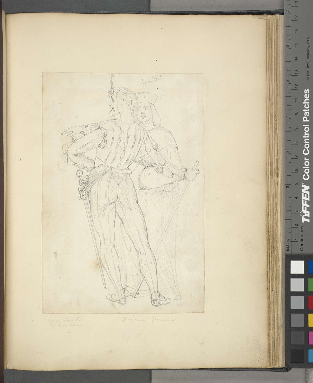[Two men, one in back view wearing tights, doublet, sword, a hat with plume, and holding a staff.]