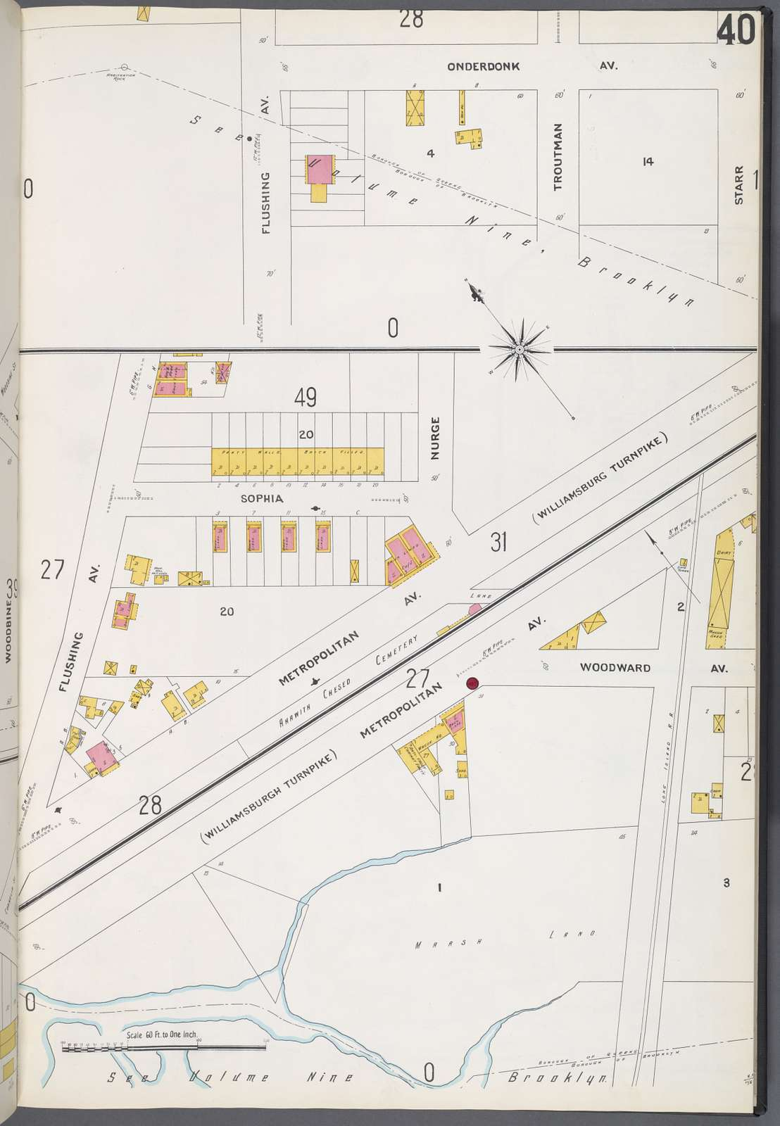 Queens V. 3, Plate No. 40 [Map bounded by Onderdonk Ave., Starr St., Flushing Ave., Metropolitan Ave., Woodward Ave.]