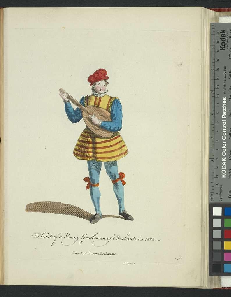 Habit of a young gentleman of Brabant in 1588. Jeune gentilhomme Brabançon.