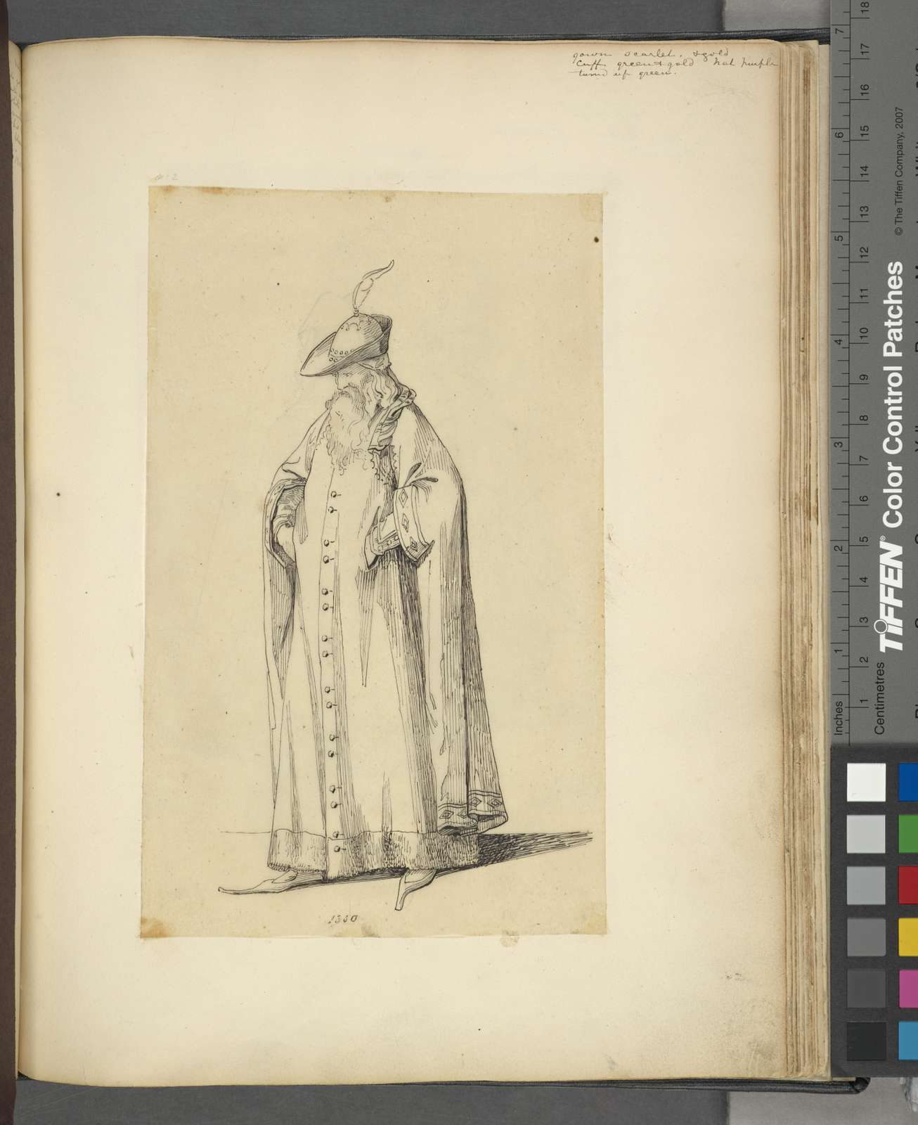 Man with beard in long cape, hat with plume, and pointed shoes.