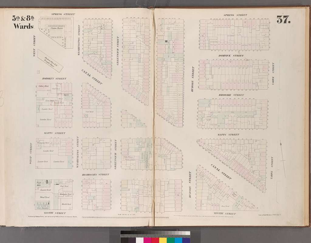 [Plate 37: Map bounded by Spring Street, Varick Street, Vestry Street, West Street.]