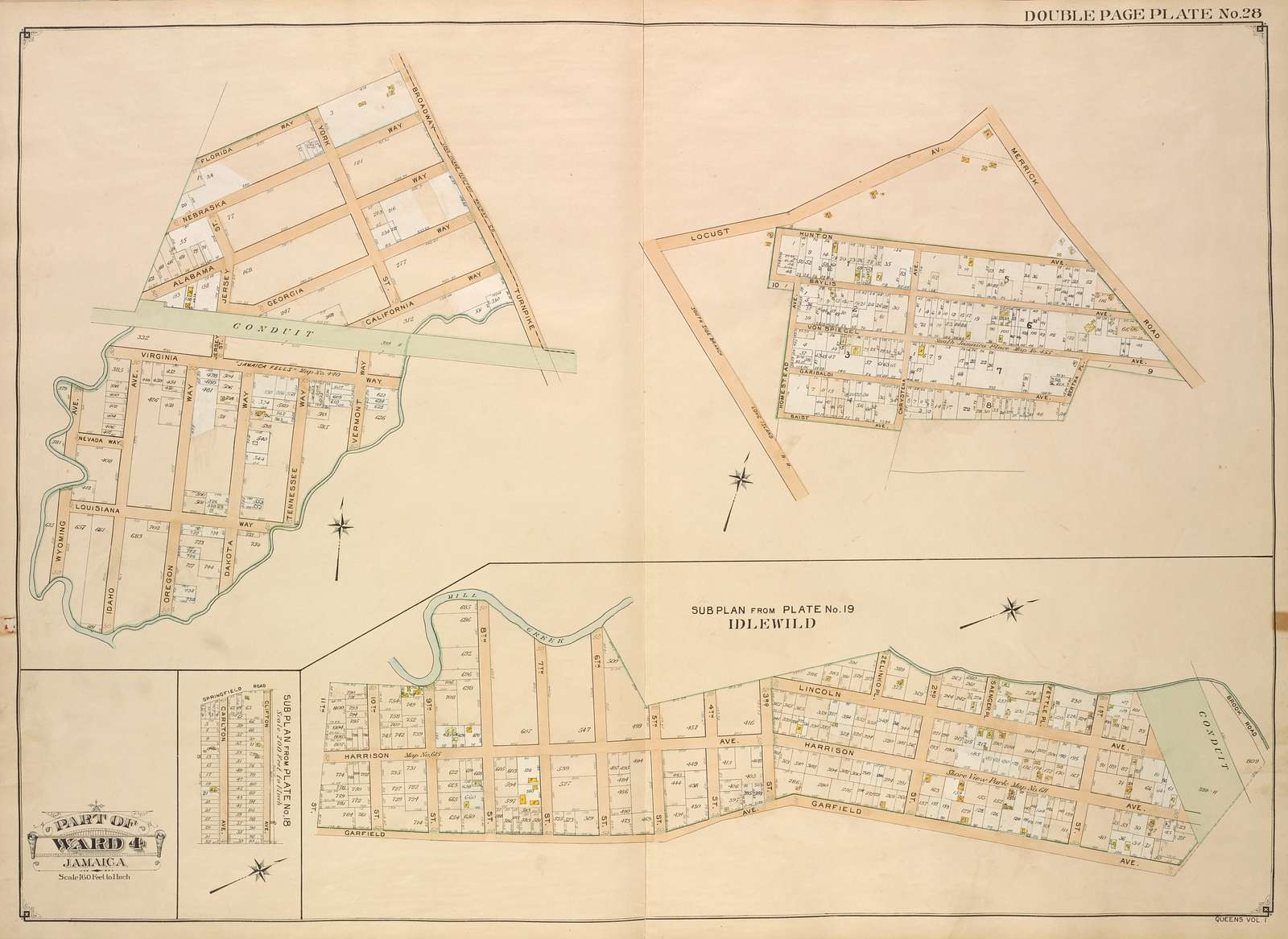 Queens, Vol. 1, Double Page Plate No. 28; Part of Ward 4; Jamaica; [Map bounded by Broadway Turnpike, Vermont Way, tennessee Way, Dakota Way, Oregon Way, Idaho Ave., Wyoming Ave., Virginia Way, Alabama Way, Nebraska Way, Florida Way; Including Locust Ave., Merrick Road, Bertha PL., Baist Ave., South Side Branch Long Island R.R., Homestead Ave., Hunton Ave., Bay LisAve., Von Spiecel Ave., Garibaldi Ave., Chrystena Ave.]; Sub Plan From Plate No. 19; Idlewild; [Map bounded by Mill Creek, Brook Road; Including Garfield Ave., 11th St.]; Sub Plan From Plate No. 18; [Map bounded by Springfield Road; Including Clifton Ave., Carlton Ave.]