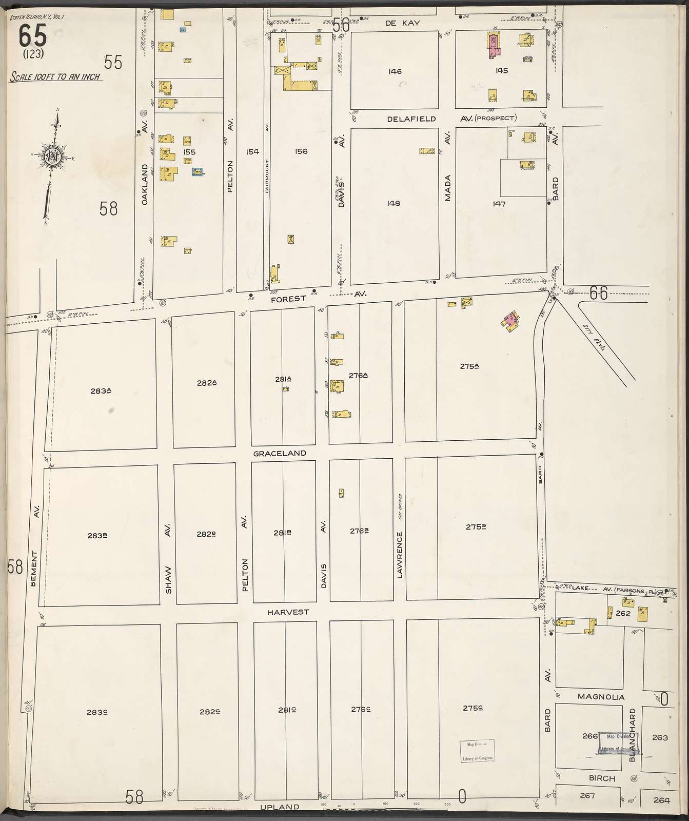 Staten Island, V. 1, Plate No. 65 [Map bounded by De Kay, Bard Ave., Blanchard, Upland, Bement Ave.]