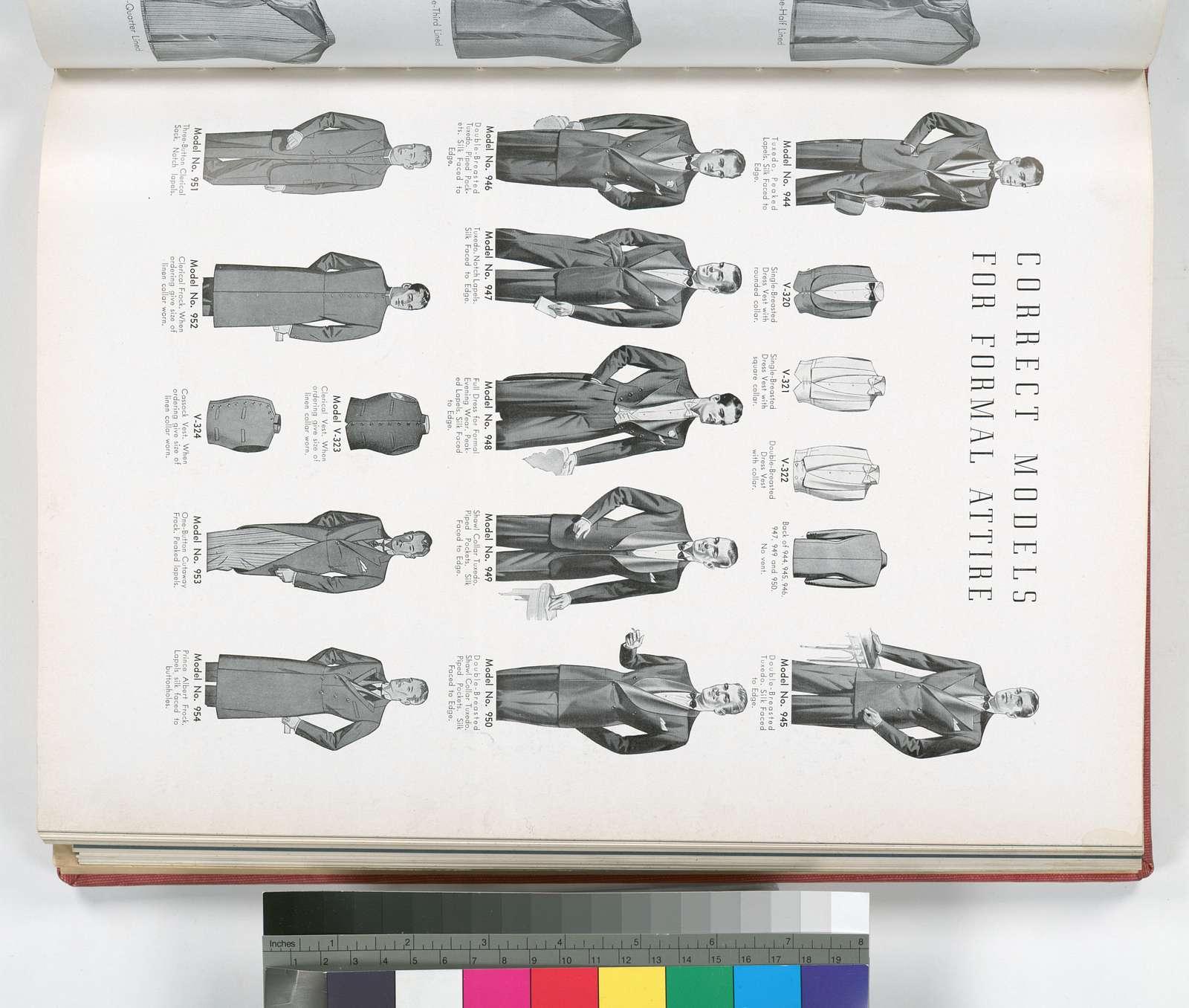 Correct Models for formal attire - tuxedo, dress vest, full dress, clerical sack, clerical frock, clerical vest, cassock vest, cutaway frock, Prince Albert frock.