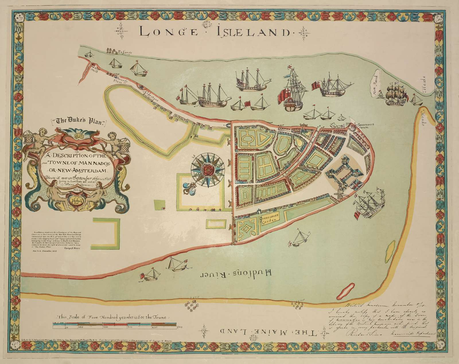 A description of the towne of Mannados: or New Amsterdam, as it was in September 1661 . . .1664. Lith. for D. T. Valentine's manual for 1859, by George Hayward. ; entered. . .1859, by George Hayward