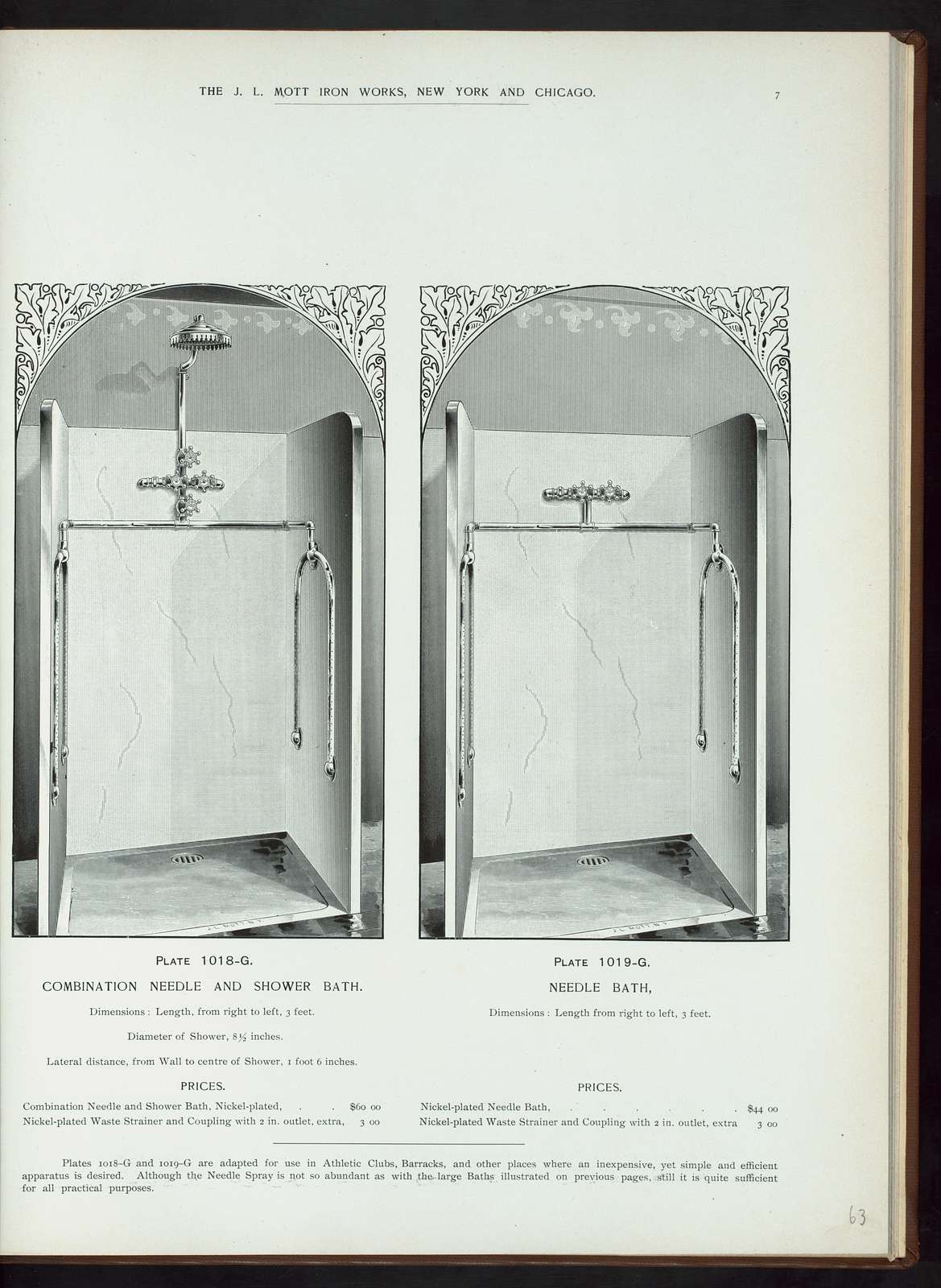 Combination needle and shower bath. Plate 1018-G ; Needle bath. Plath 1019-G.