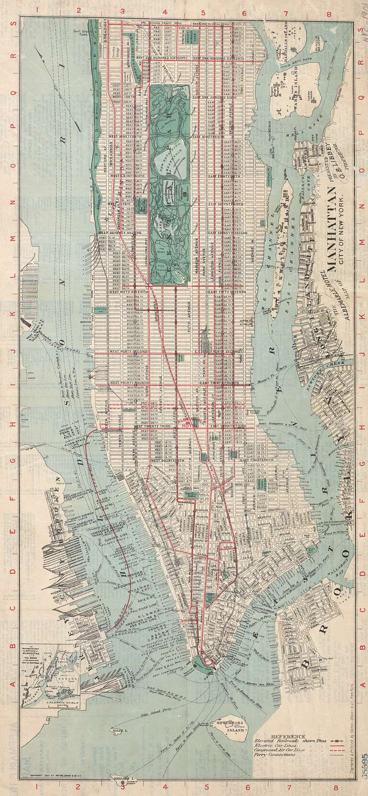 The Albemarle Hotel map of Manhattan, New York City : with index of streets and strangers' directory to business houses, public buildings, principal churches, places of amusement, etc. etc.