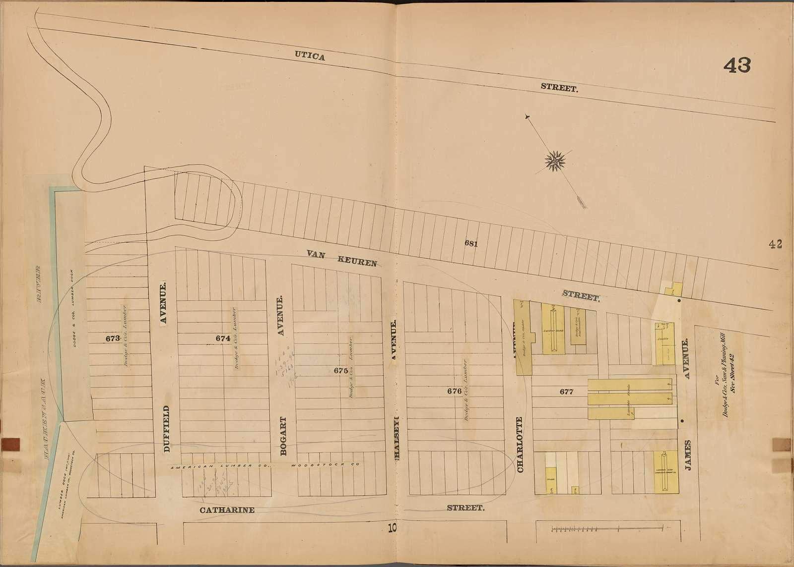 Jersey City, V. 4, Double Page Plate No. 43 [Map bounded by Utica St., James Ave., Catharine St., Hackensack River]