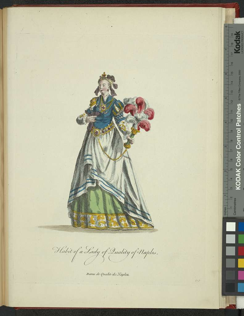 Habit of a lady of quality of Naples. Dame de qualiité de Naples.