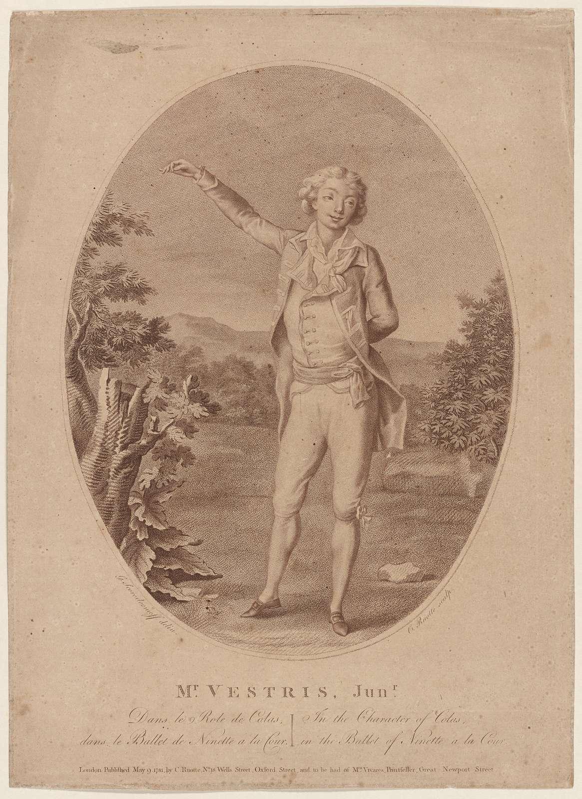 Mr. Vestris, Junr. dans le role de Colas dans le ballet de Ninette a la cour: in the character of Colas, in the ballet of Ninette a la cour