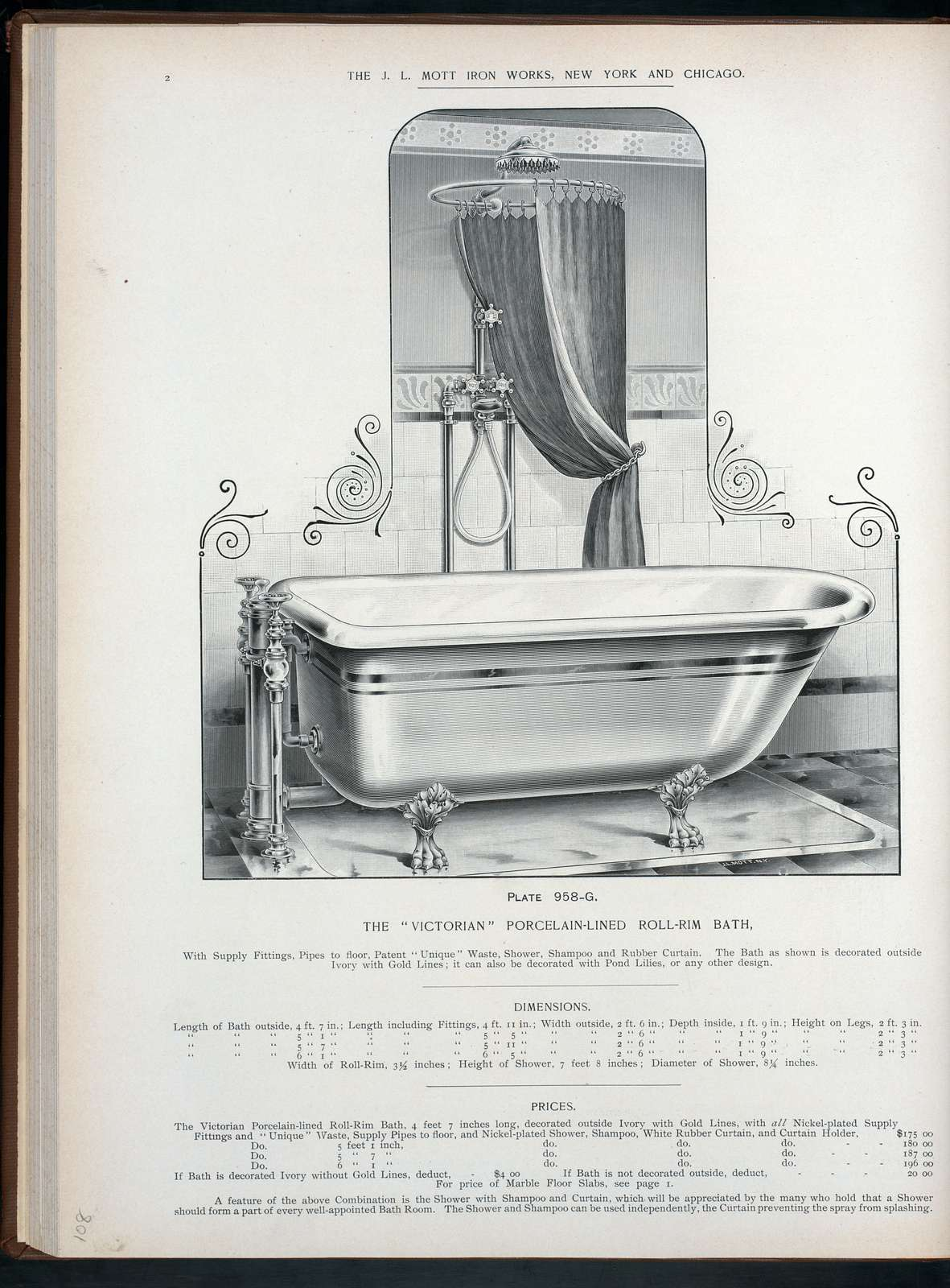 The 'Victorian' porcelain-lined roll-rim bath. Plate 958-G.