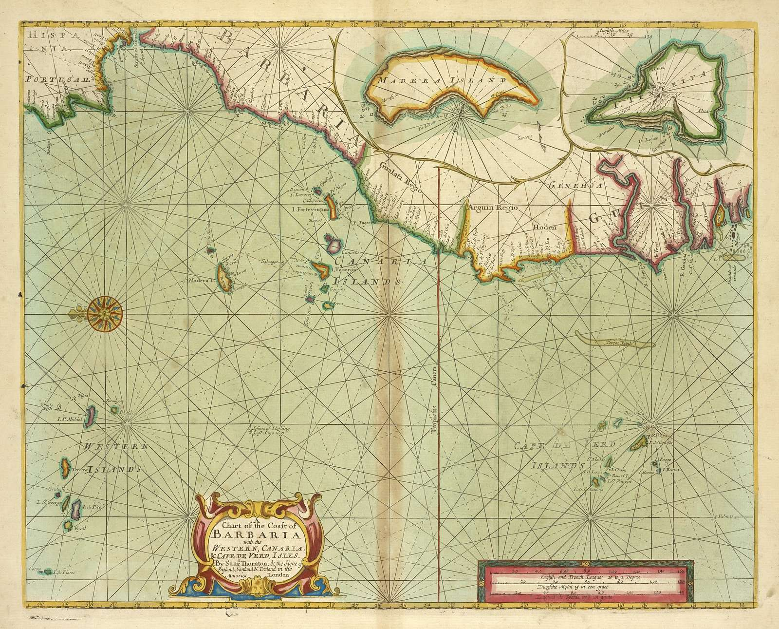 A chart of the coast of BARBARIA with the Western, Canaria and Cape de Verd, Isles