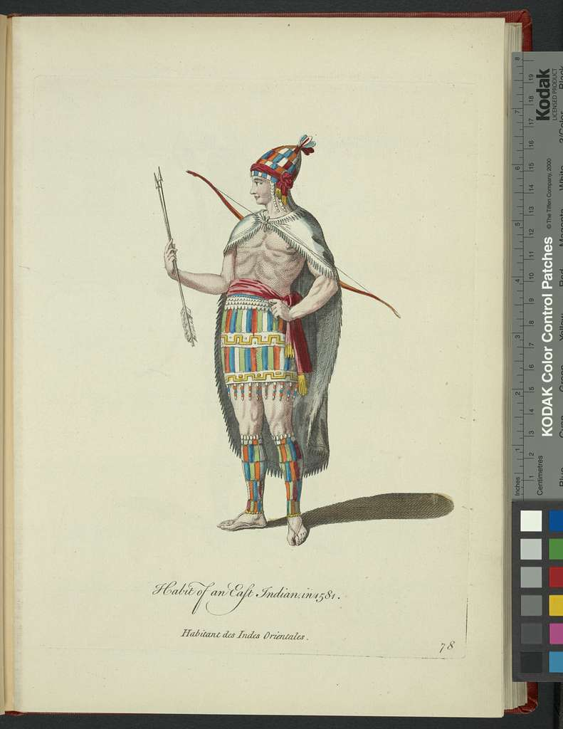 Habit of an East Indian in 1581. Habitant des Indes Orientales.