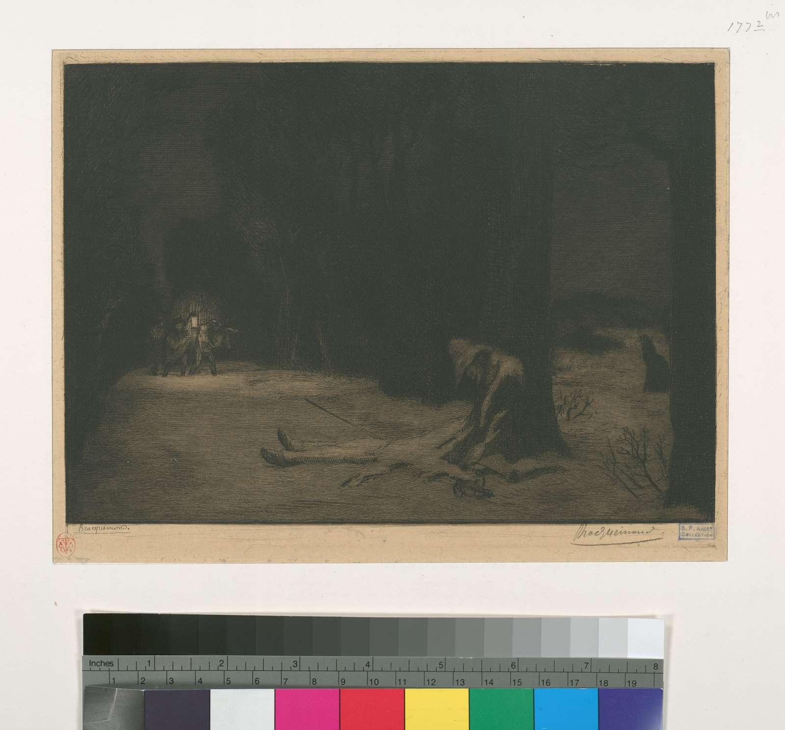 La mort de Matamore (sujet tiré du Capitaine Fracasse).