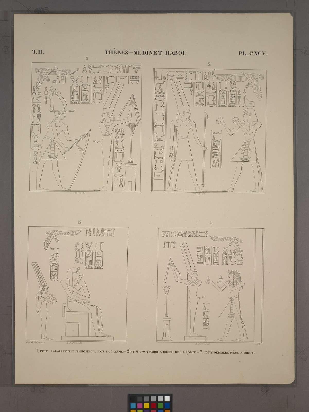 Thèbes, Médinet-Habou [Thebes, Medinet Habu]. 1. Petit palais de Thouthmosis III, sous la galerie; 2 et 4. Idem, paroi à droite de la porte; 3. Idem, dernière pièce à droite.