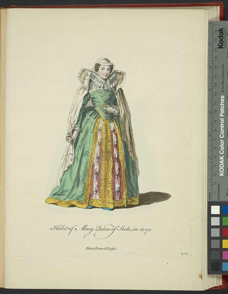 Habit of Mary Queen of Scots in 1570. Marie reine d'Ecosse.