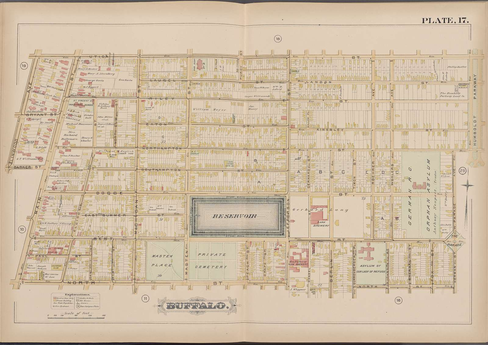 Buffalo, Double Page Plate No. 17 [Map bounded by Utica St., Herman St., North St., Main St.]