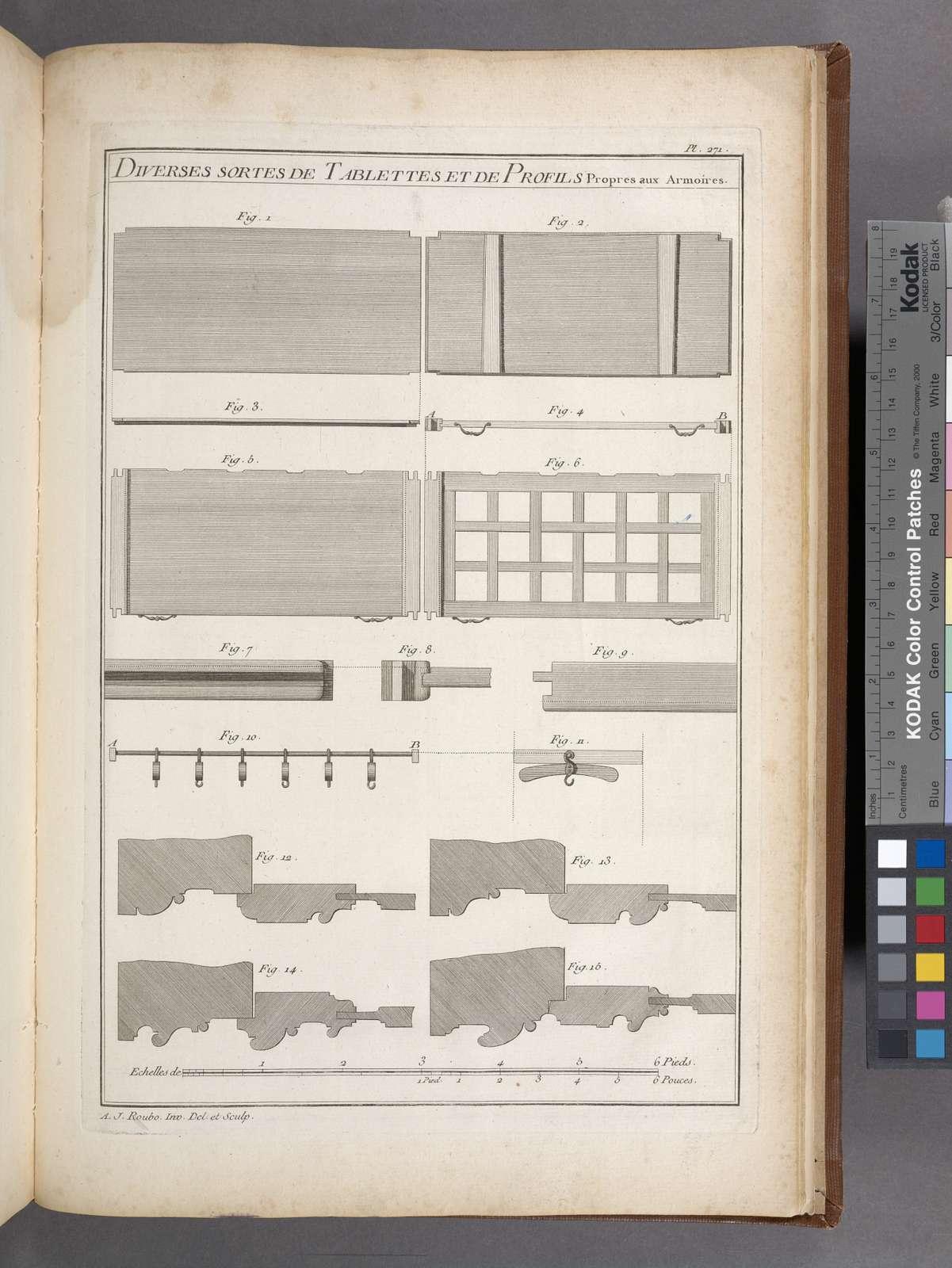 Diverses sortes de tablettes et de profils propres aux armoires.