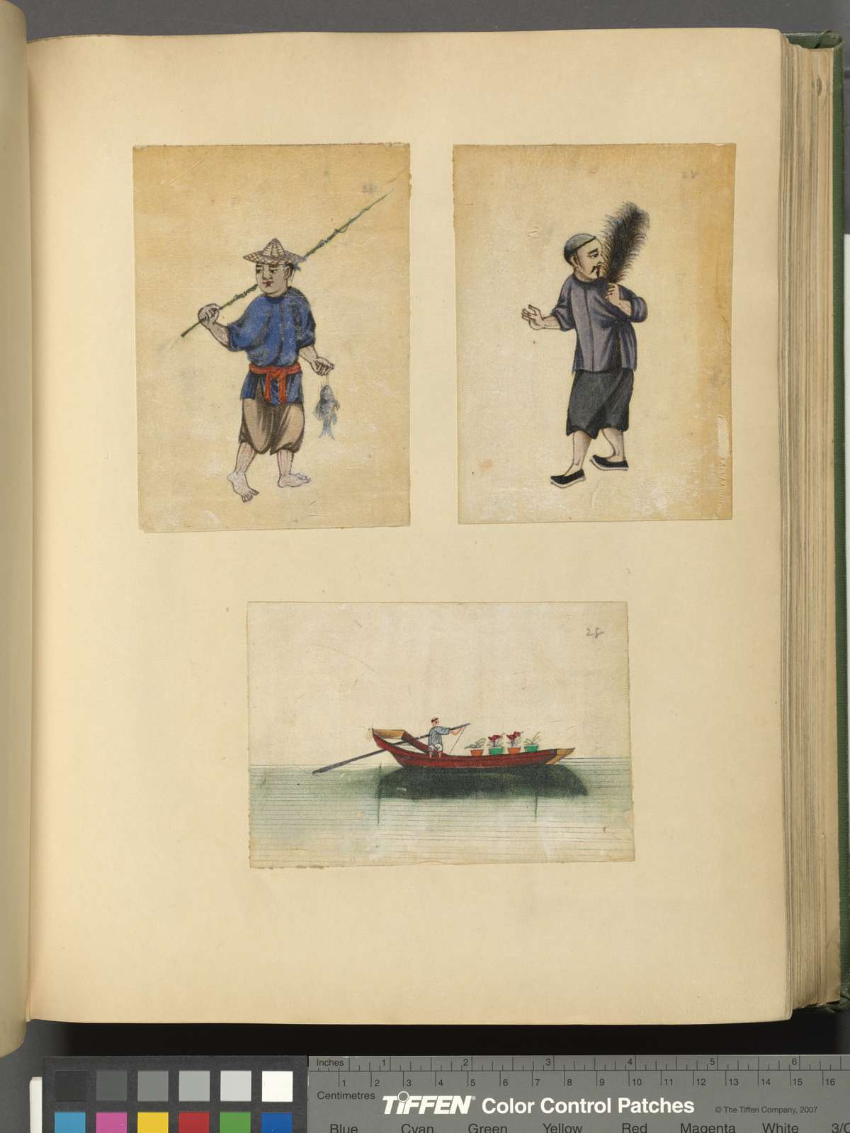 One drawing of a fisherman, one drawing of a man carrying a feather, one drawing of a barge.