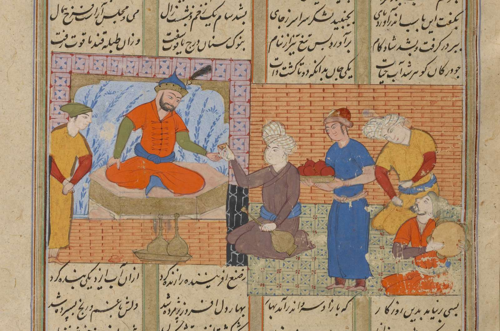 Zâl (with a black beard) celebrates the birth of a son.