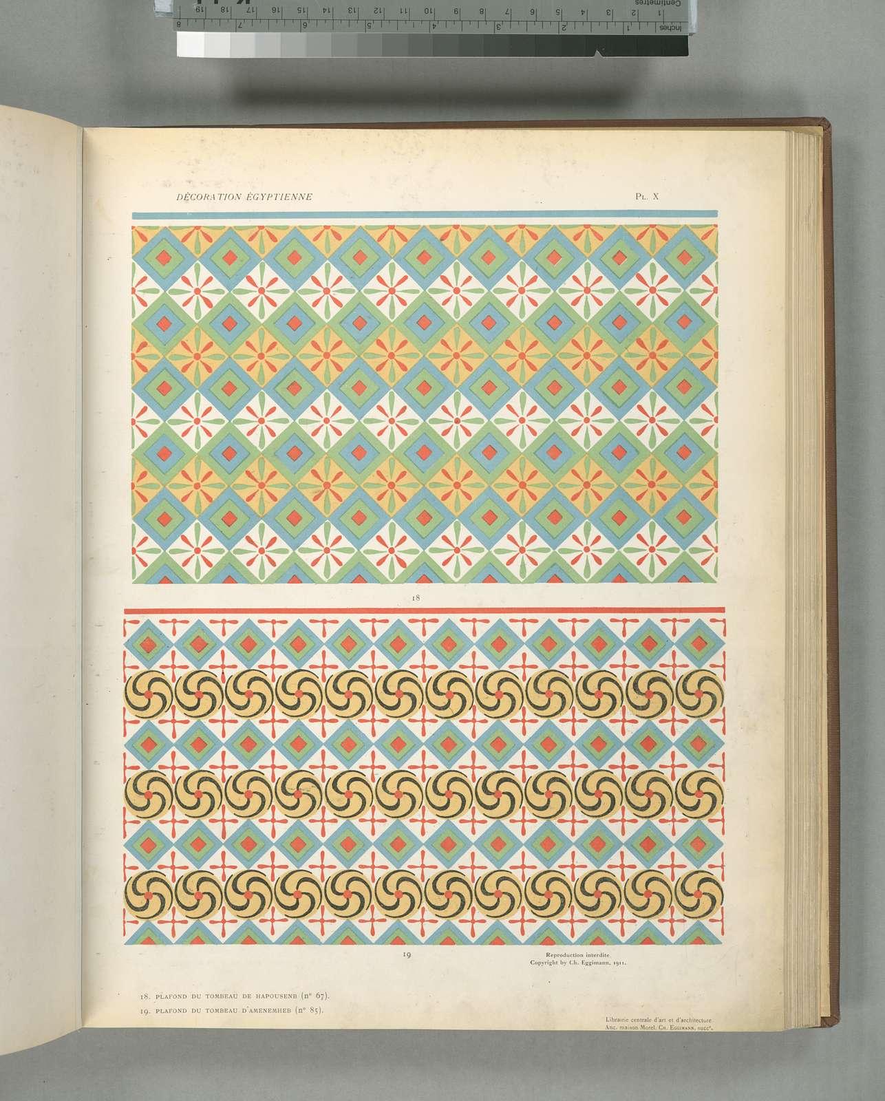 18. Plafond du Tombeau de Hapousenb (n° 67), 19. Plafond du Tombeau D'amenemheb (n° 85)